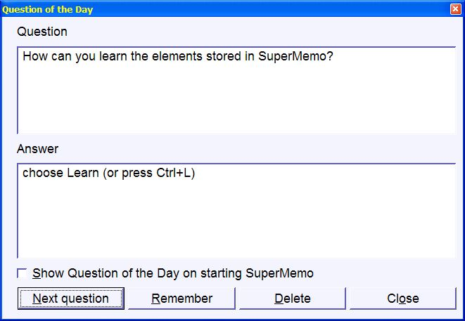 SuperMemo: Question of the day