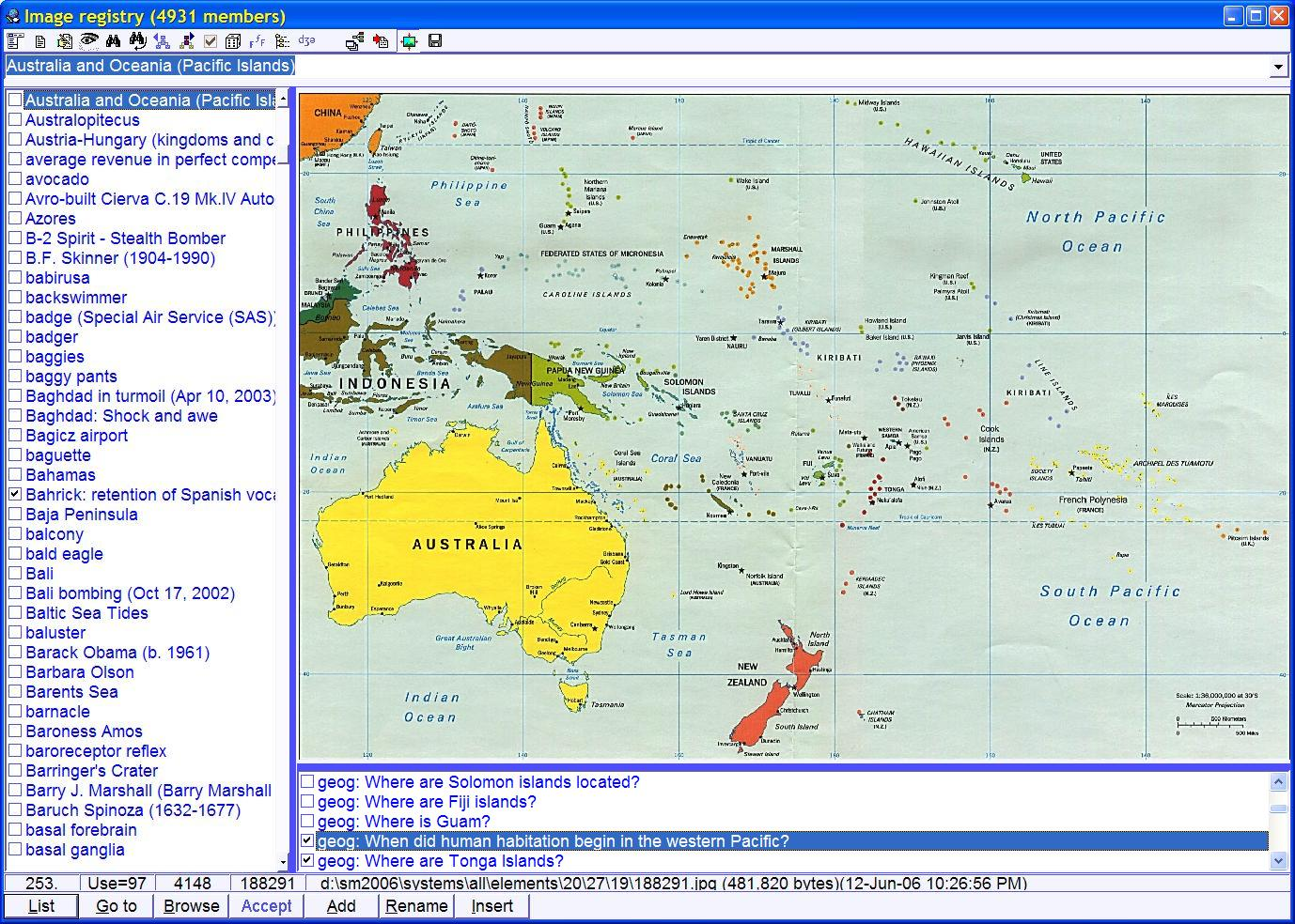 SuperMemo: image registry displaying a picture of Australia and Oceania